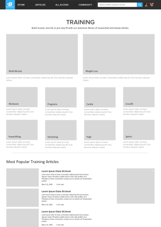 Article Category Listing Wireframe
