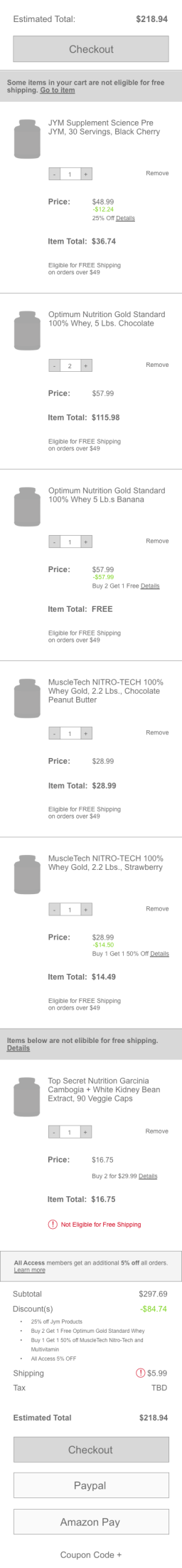 Cart With Promotions (Mobile)