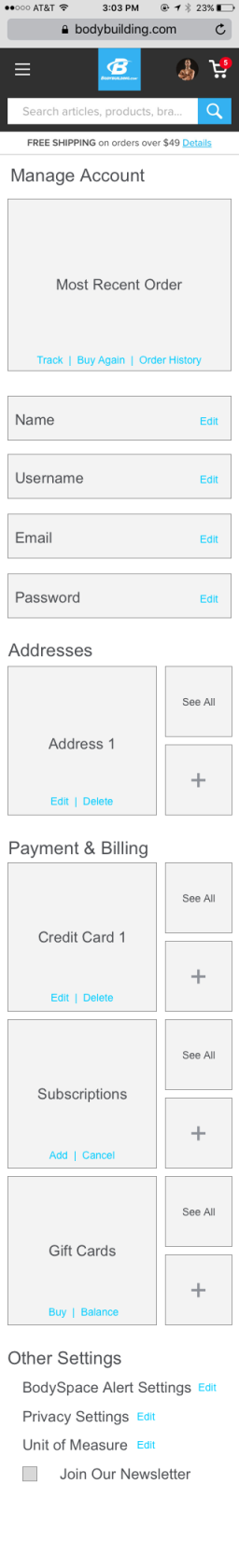 Account Management Wireframe